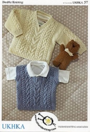 Knitting Patterns For Babies Jumpers : BABY BOYS JUMPER SLIPOVER DK KNITTING PATTERN. UKHKA 57