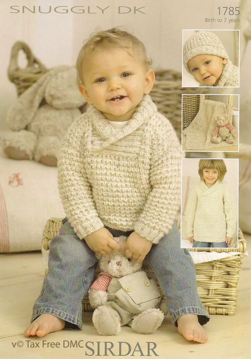 Machine Knitting Patterns For Babies : Sirdar Knitting Pattern Snuggly DK Sweater Hat Blanket 1785