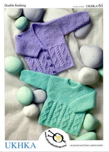 Baby / Childrens Textured & Cabled Cardigans & Sweater Knitting Pattern. UKHKA 61