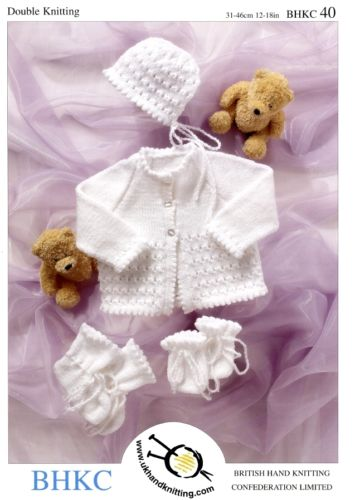 Baby DK Pattern Cardigan Accessories Hat Bootees Mittens Double Knitting. UKHKA40