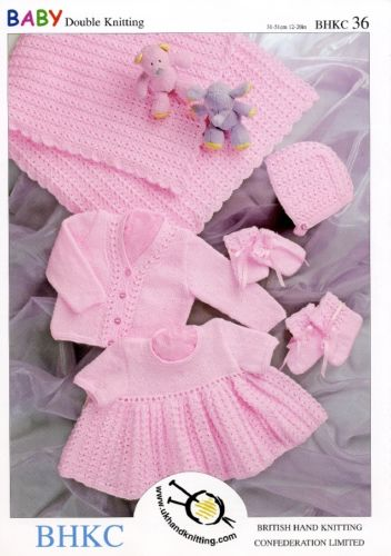 "Baby DK Set. Dress Cardy Blanket Hat Knitting Pettern Sizes 12-20"". UKHKA 36"