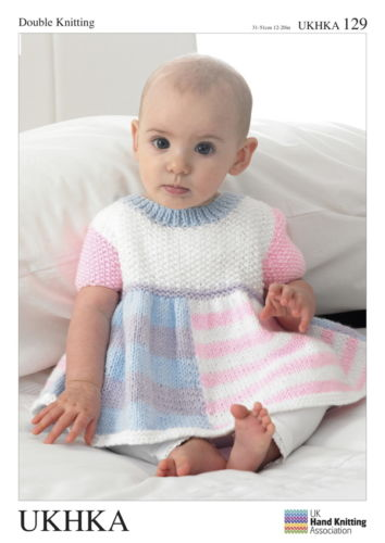 BABY GIRLS DRESS HAT CARDI DK KNITTING PATTERN Prem - 12mths. UKHKA 129