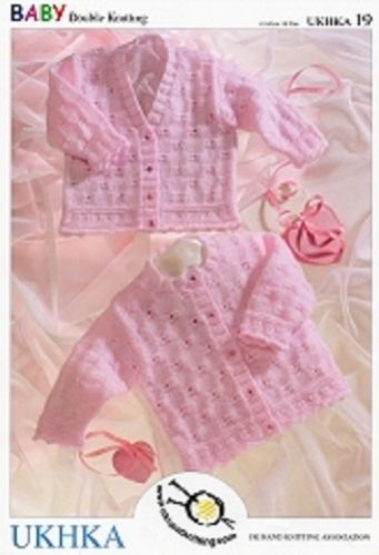 "Baby Girls Pretty Round & V-neck Cardigans DK Knitting Pattern (16""-26""). UKHKA 19"