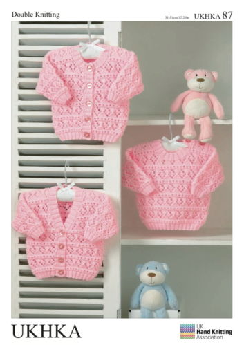 CARDIGANS AND SWEATER DK DOUBLE KNITTING BABY PATTERN. UKHKA 87