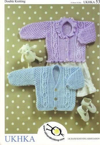 Childrens Baby DK Knitting Pattern - Cable & Textured Cardigans UKHKA 53