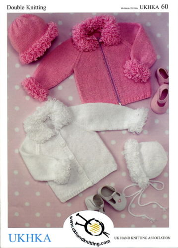 "DK Baby Girl Loopy Stitch Cardigans & Bonnet Knitting Pattern (16""-26""). UKHKA 60"