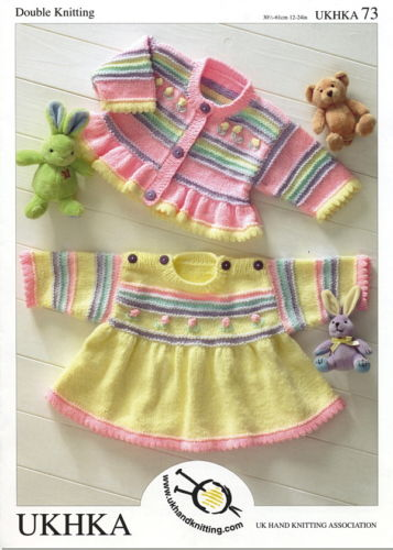 "DK Baby Girls Dress & Cardigan Knitting Pattern (12""- 24""). UKHKA 73"
