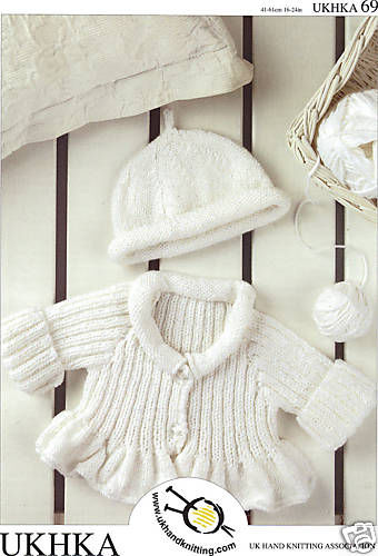 DK Baby Knitting Pattern - Ribbed & Flared Cardigan & Hat (0-4 yrs) UKHKA 69