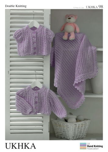 DK Baby Lacy Cardigans & Blanket Knitting Pattern (Prem - 2 years). UKHKA98