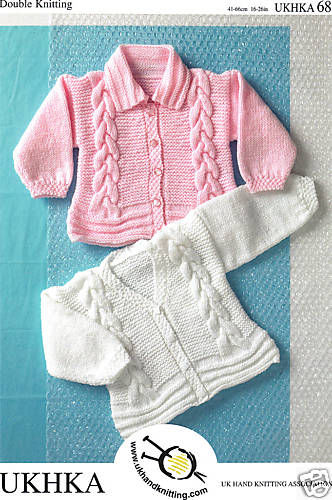 DK Girls Baby Knitting Pattern for Cable Jacket / Cardigans UKHKA 68