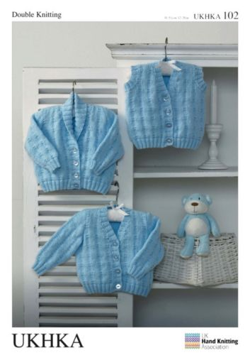 DK Knitting Pattern Baby Child Cardigans Waistcoat UKHKA102