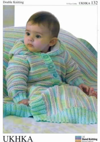 b6f20027bb1f32 DK Knitting Pattern - Baby Hooded Jacket Cardigan   Blanket 12 -20 ...