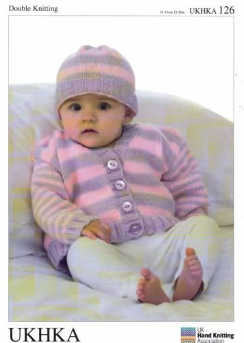 DK Knitting Pattern for Baby Cardigans & Hat (Prem - 12mths). UKHKA 126