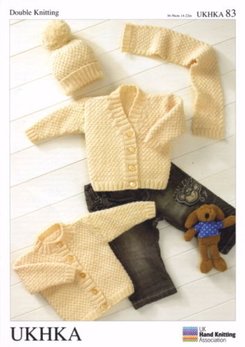 "DK Knitting Pattern for Baby Cardigans, Hat & Scarf (14""- 22""). UKHKA 83"