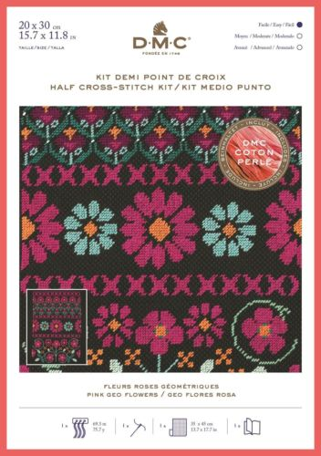 DMC Geometric Flowers Half Cross Stitch Kit with Perle Thread - Pink Geo Flowers- BK1785