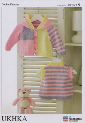 "Girl`s Striped Hooded Jacket & Waistcoat 12-22""(31-56cm). DK Knitting Pattern. UKHKA 91"