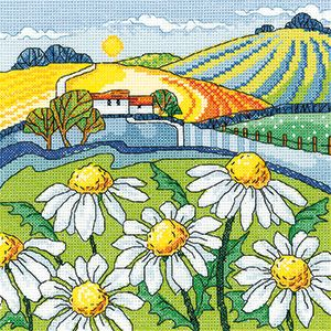 Heritage Crafts Karen Carter Collection Cross Stitch Kit - Daisy Landscape