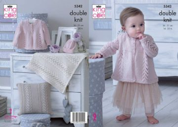 Baby KNITTING PATTERN Coat Bonnet Mittens Bootees /& Blanket DK King Cole 4946