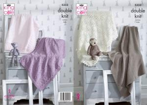 King Cole Baby Blankets DK Knitting Pattern 5333