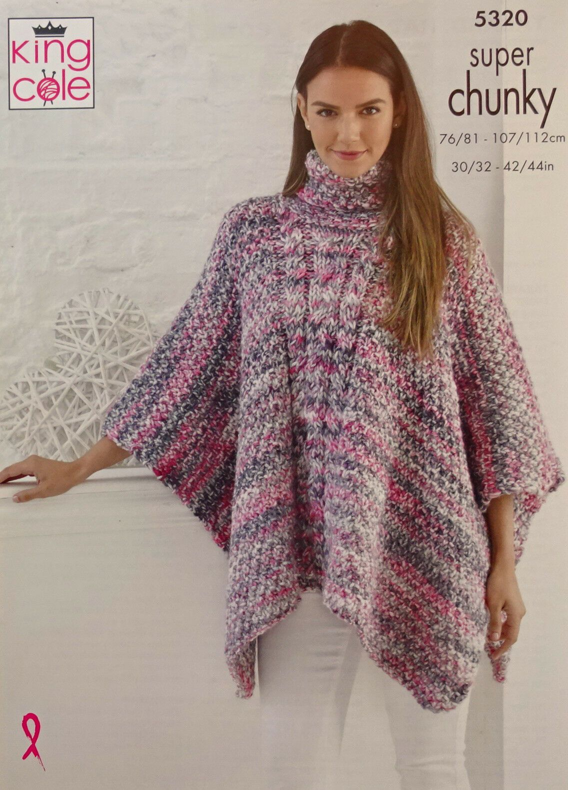daba0f6da King Cole Womens Poncho Hat Scarf and Cowl Knitting Pattern in Super Chunky  5320