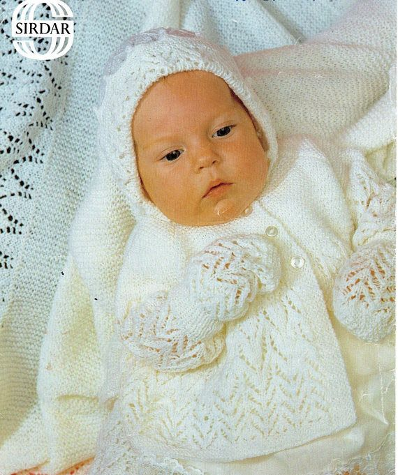Knitting Pattern Sirdar 3421 Baby Snuggly 3 Ply Matinee Layette Set