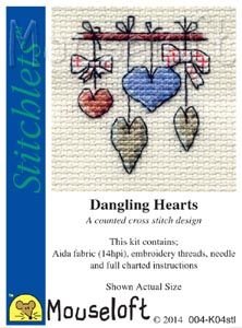 Mouseloft Stitchlets  Dangling Hearts
