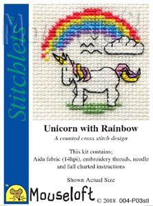 Mouseloft Stitchlets Unicorn with Rainbow