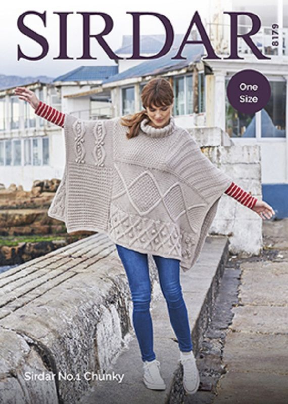 Poncho In Sirdar No 1 Chunky Knitting Pattern 8179