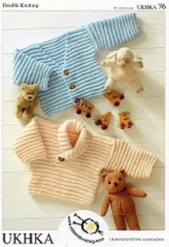 PREM BABY JUMPER AND CARDIGAN DK KNITTING PATTERN. UKHKA 76