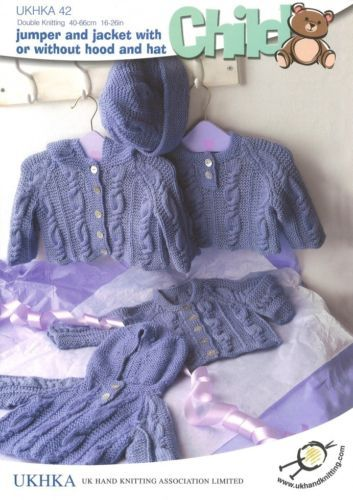 UKHKA 42 Jumper , Jacket & Hat DK KNITTING PATTERN 16-26in / 40-66 cms