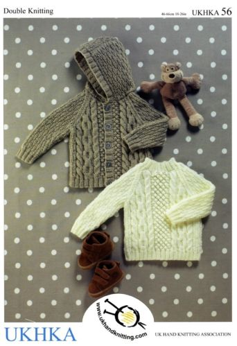 UKHKA 56 BABY BOYS JUMPER JACKET DK KNITTING PATTERN 3mths - 6yrs.