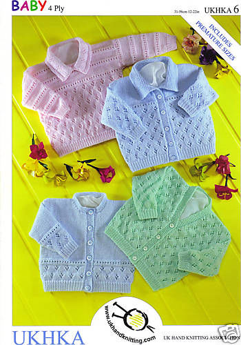 UKHKA 6 - Baby Knitting Pattern - 4ply for Cardigans & Sweater (Prem - 2 years)